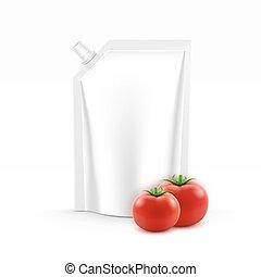 ベクトル, ブランク, プラスチック, 立ち上がりなさい, パック, ∥あるいは∥, 袋, ホイル, ∥で∥, a, コーナー, ふた, の, トマトケチャップ, ∥ために∥, 決め付けること, ∥で∥, 新しい トマト, 隔離された, 白, 背景