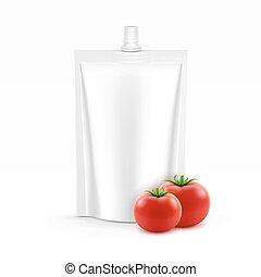 ベクトル, ブランク, プラスチック, 立ち上がりなさい, パック, ∥あるいは∥, 袋, ホイル, の, トマトケチャップ, ∥ために∥, 決め付けること, ∥で∥, 新しい トマト, 隔離された, 白, 背景