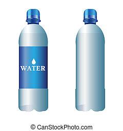 ベクトル, プラスチックのビン, の, 純粋な水