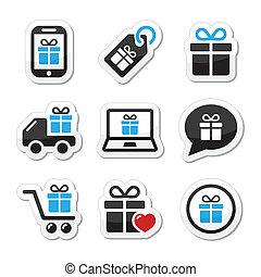ベクトル, プレゼント, セット, 買い物, アイコン