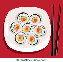 ベクトル, プレート, 寿司, 箸