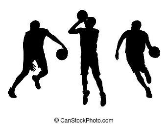 ベクトル, プレーヤー, シルエット, セット, バスケットボール