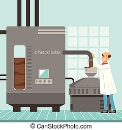 ベクトル, プロセス, イラスト, 機械, 菓子屋, 生産, チョコレート, 制御