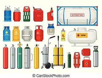 ベクトル, プロパン, ballons, tanks., イラスト, ガス, 酸素, 安全, ∥あるいは∥, 危ない