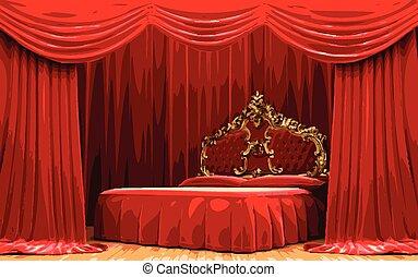 ベクトル, ベッド, 上に, 赤いカーテン, ステージ
