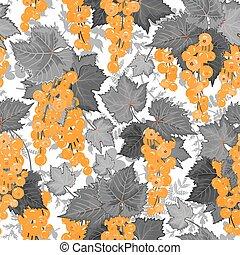 ベクトル, ベリー, pattern., 背景, ∥で∥, currant., オレンジ, 灰色
