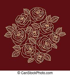 ベクトル, ベージュ, 花, ばら, アウトライン, デザイン, 花輪