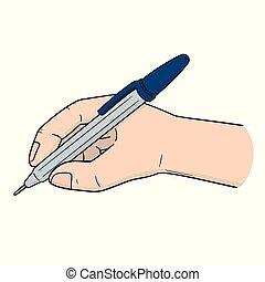 ベクトル, ペン, セット, 手の執筆