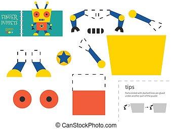 ベクトル, ペーパーを切りなさい, 面白い, 特徴, ロボティック, のり, ボール紙, モデル, toy., 切抜き