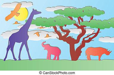 ベクトル, ペーパー, 動物, 中に, アフリカ
