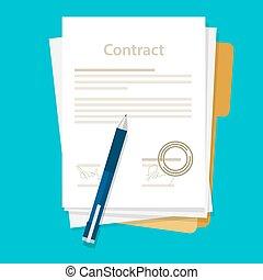 ベクトル, ペーパー, 取引, 机, アイコン, ペン, 署名される, 契約, ビジネス, 合意, イラスト, 平ら