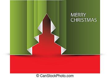 ベクトル, ペーパー, 木, クリスマス