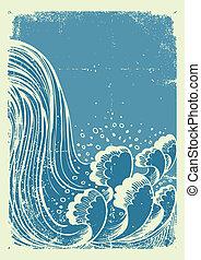 ベクトル, ペーパー, 水, 背景, 古い, グランジ, 青, waterfall., 波
