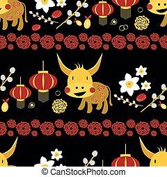 ベクトル, ペーパー, 赤, バックグラウンド。, 年, 金, 2021, 背景, 牛, シンボル, 切りなさい, 幸運, 花, 横列, 新しい, スイセン, peonies., 雄牛, カレンダー, ランタン, フルーツ, kawaii, 中国語, seamless, パターン, かわいい