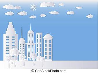 ベクトル, ペーパー, 都市, 建物, 白, 現代, イラスト, スカイライン, 木。