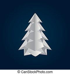ベクトル, ペーパー, 陽気, 木。, クリスマス, design., 芸術