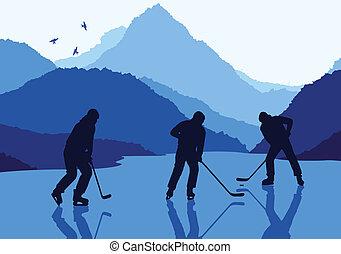 ベクトル, ホッケー, 風景, 氷