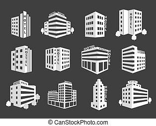 ベクトル, ホテル, セット, アイコン