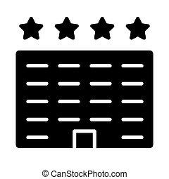 ベクトル, ホテル, icon., 96x96, pictogram, 単純である, 最小である
