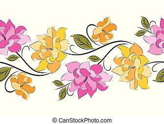 ベクトル, ボーダー, バラ, seamless, 空想, 花