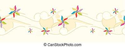 ベクトル, ボーダー, seamless, 花
