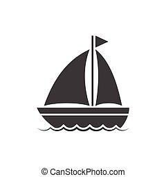ベクトル, ボート, アイコン