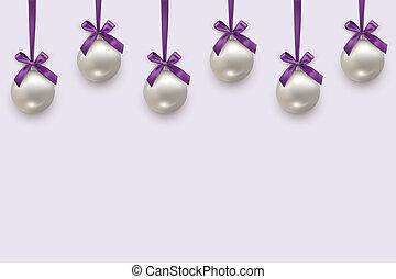 ベクトル, ボール, ライト, すみれ, pattern., 隔離された, seamless, バックグラウンド。, お辞儀をする, 年, 新しい, 横, リボン, クリスマス, 銀