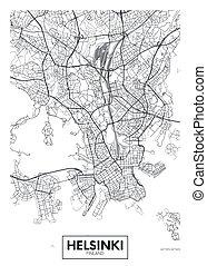 ベクトル, ポスター, 都市, 旅行, 地図, デザイン, ヘルシンキ