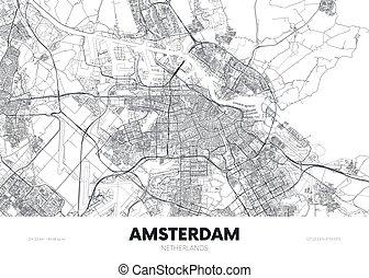 ベクトル, ポスター, 都市, netherlands, アムステルダム, 旅行, 通り, 詳しい, 計画, イラスト, 都市 地図