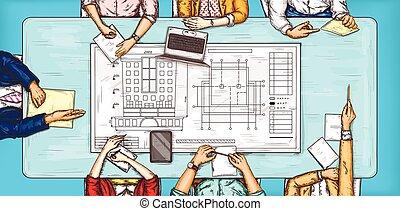 ベクトル, ポップアート, イラスト, の, a, 人, そして, a, 女性の モデル, ∥において∥, a, 交渉, テーブルの 上, 光景