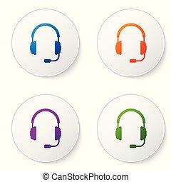 ベクトル, マイクロフォン, 概念, サービス, 色, コミュニケーション, 印。, オブジェクト, イラスト, buttons., ヘッドホン, バックグラウンド。, セット, 聞くこと, operator., 音楽, 白い円, イヤホーン, アイコン