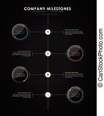 ベクトル, マイル標石, リードした, バージョン, タイムライン, 会社, -, 効果, 暗い, infographic, テンプレート, ライト