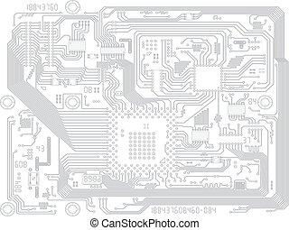 ベクトル, マザーボード, -, コンピュータ板, 回路, 電子, 図画