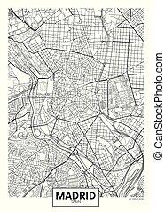 ベクトル, マドリッド, 都市, 詳しい, 地図, ポスター