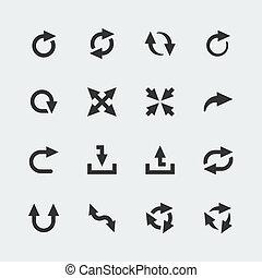 ベクトル, ミニ, セット, 矢, アイコン