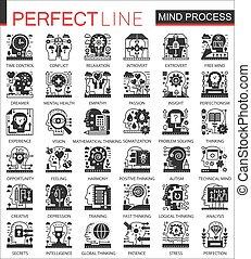 ベクトル, ミニ, 概念アイコン, プロセス, set., 心, シンボル, 脳, infographic, 黒