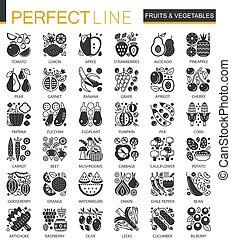 ベクトル, ミニ, 概念アイコン, 野菜, シンボル, infographic, 黒, 成果, set.
