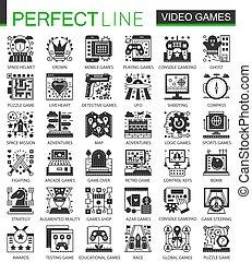 ベクトル, ミニ, 概念アイコン, set., クラシック, シンボル, infographic, ビデオゲーム, 黒