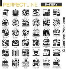 ベクトル, ミニ, 概念, セット, アイコン, クラシック, シンボル, パン屋, infographic, 黒, ペストリー