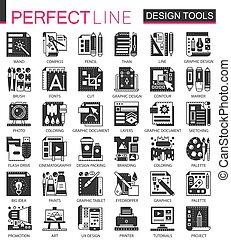 ベクトル, ミニ, 概念, セット, アイコン, シンボル, infographic, デザイン, インターフェイス, 黒, 道具