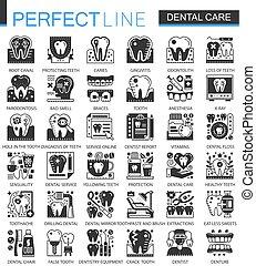 ベクトル, ミニ, 概念, セット, アイコン, 歯医者の, シンボル, infographic, 黒, 心配