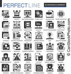ベクトル, ミニ, 概念, セット, アイコン, 経済学, シンボル, infographic, やみ市場