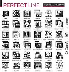 ベクトル, ミニ, 概念, セット, マーケティング, アイコン, シンボル, infographic, 黒, デジタル, seo