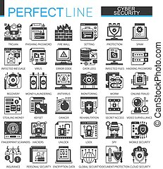 ベクトル, ミニ, 概念, ネットワーク, クラシック, set., pictogram, 現代, cyber, symbols., 保護, 黒, イラスト, セキュリティー, アイコン