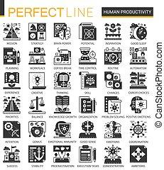 ベクトル, ミニ, 概念, 生産性, アイコン, set., クラシック, シンボル, infographic, 黒, 人間