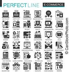 ベクトル, ミニ, 概念, 買い物, アイコン, シンボル, インターネット商業, infographic, 黒, セット