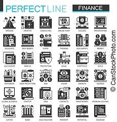 ベクトル, ミニ, 概念, 金融, アイコン, set., シンボル, 銀行業, infographic, 黒
