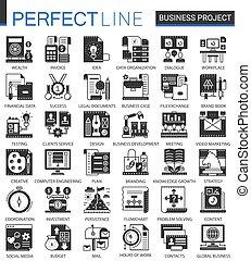 ベクトル, ミニ, 概念, 金融, ビジネス, クラシック, set., アイコン, プロジェクト, infographic, 黒, シンボル