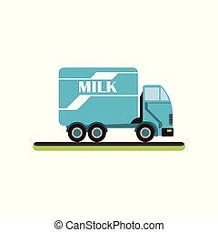 ベクトル, ミルク, サービス, 白い背景, トラック, 出産, 搾乳場, イラスト