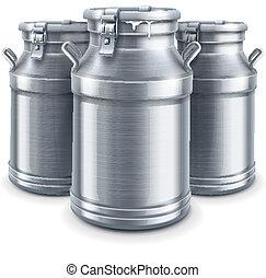 ベクトル, ミルク, 隔離された, 容器, 缶